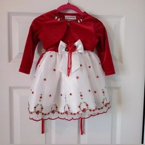 Youngland Red White Roses Holiday Party Dress 12M